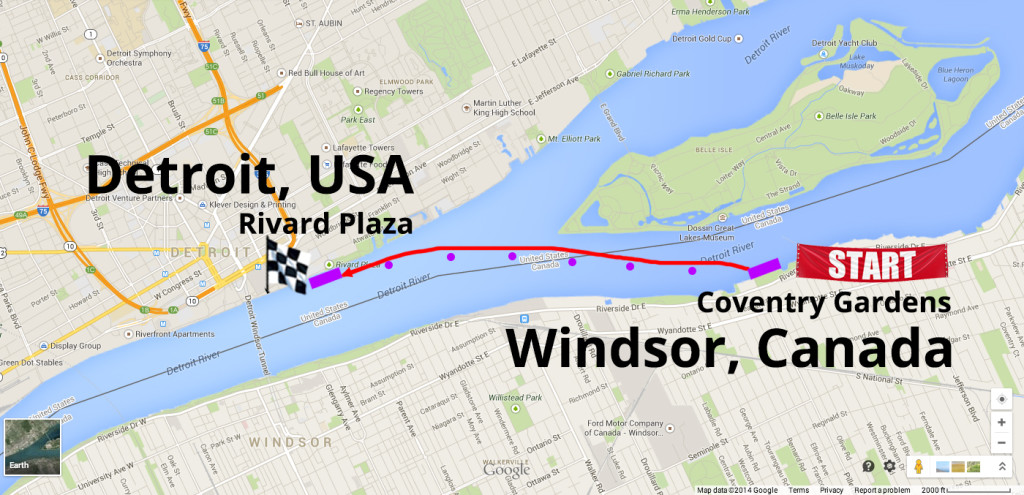 Detroit-Windsor Open Water Course Map CoventryGardens-RivardPlaza