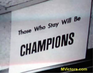 "The original ""Those Who Stay Will Be Champions"" sign, hung in the 1969 Michigan football team locker room"